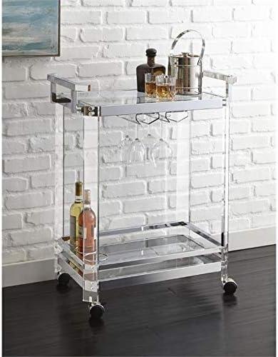 BOWERY HILL Acrylic Bar Cart in Chrome