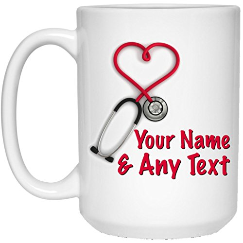Custom Personalized Heart Stethoscope Coffee Mug Nurse Mug Doctor Mug 15 oz Ceramic Cup Great for Hot Chocolate and Tea Perfect Gift for any Nurse Doctor or Anyone in the Medical Field