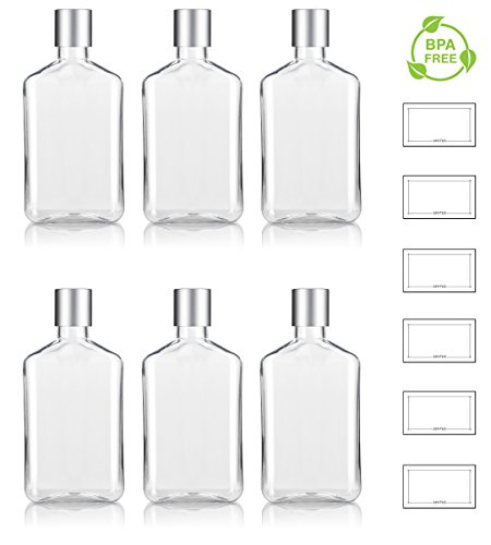 8 oz / 250 ml Clear PET (BPA Free) Plastic Oblong Flask Style Refillable Bottle with Silver Disc Cap Tops (6 pack) + ()