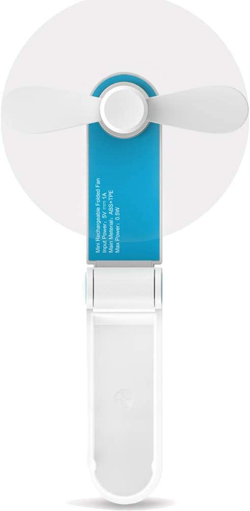 Mini Handheld Personal Fan, Portable Travel Hand Pocket USB Fan Battery Operated for Home Hiking Travelling Office, Two Modes, Soft TPE Material, USB Cable Included, Blue.