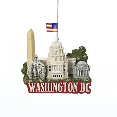 "3.25"" Glittered US City Travel Washington DC Christmas Ornament, Capitol, Washington Monument, Jefferson Memorial"