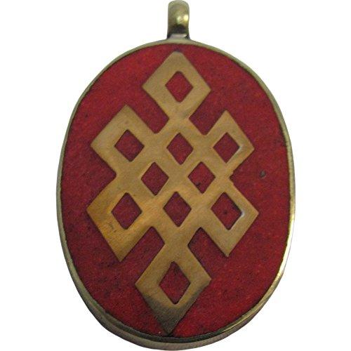 (Tibetan Vintage Yoga Coral Endless Knot Silver-Tone Large Oval Necklace Pendant)