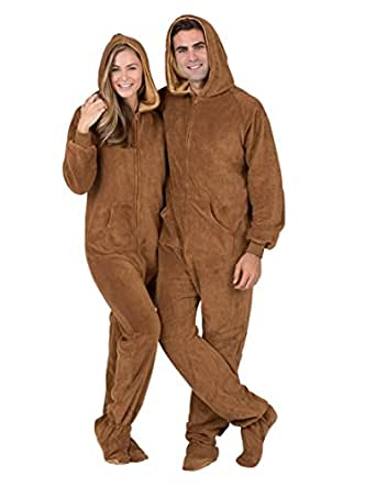 Footed Pajamas - Teddy Bear Adult Hoodie Chenille - Double XL