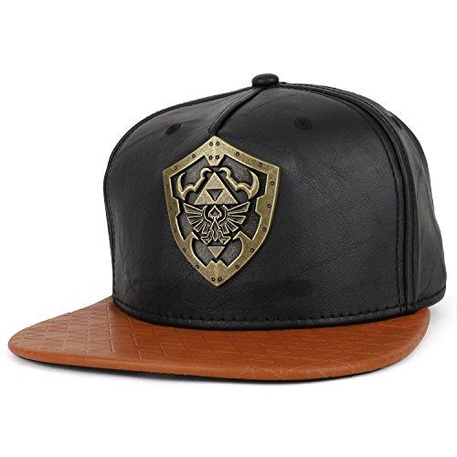 Armycrew Legend Of Zelda Metal Shield PU Leather Flatbill Snapback Cap - Black Brown