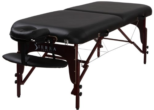 Sierra Comfort Premium Portable Massage Table with Mahogany Finish, Black by SierraComfort