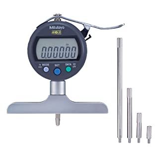Mitutoyo 547-258SCAL Absolute Digimatic Depth Gauge with Calibration, Inch/Metric, Indicator Type, 4″ x 0.63″ Base, 0-8″ (0-200mm) Range, 0.00005″ (0.001mm) Resolution, +/-0.0003″ Accuracy