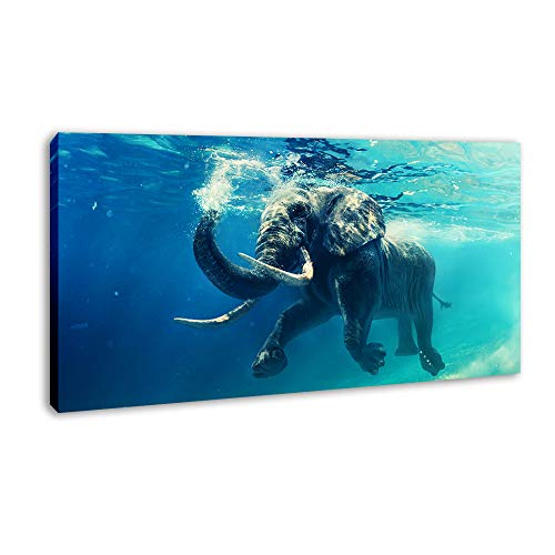 (DVQ ART Elephant Painting Prints Artwork Decorations for The Home Decor Giclee Animal Canvas Printing Decor for Nursery Ready to Hang(24x48Inch))