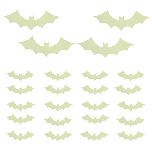 [candybox Halloween Bat Luminous Stickers Decorative Wall Stickers for Home Window Decoration,Yellow] (Homemade Ghost Costumes Child)