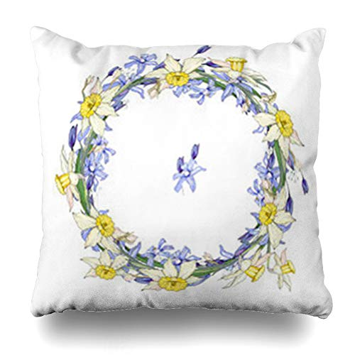 InterestDecor Throw Pillow Covers Pillowcase Bunch Blue Round Garland Spring Flowers Scilla Daffodils March Saeson Floral for Festive April Yellow Zippered Square Size 20 x 20 Inches Cushion Case