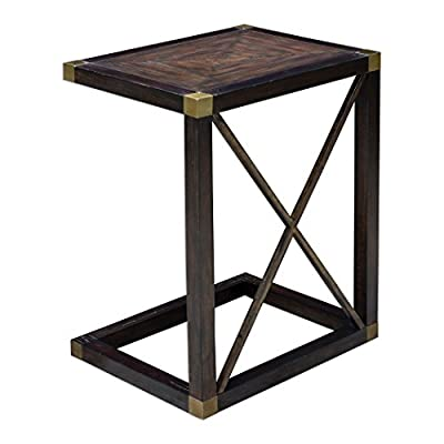 Elegant Dark Wood Black C Shaped Side Table | Sofa Accent Traditional Brass