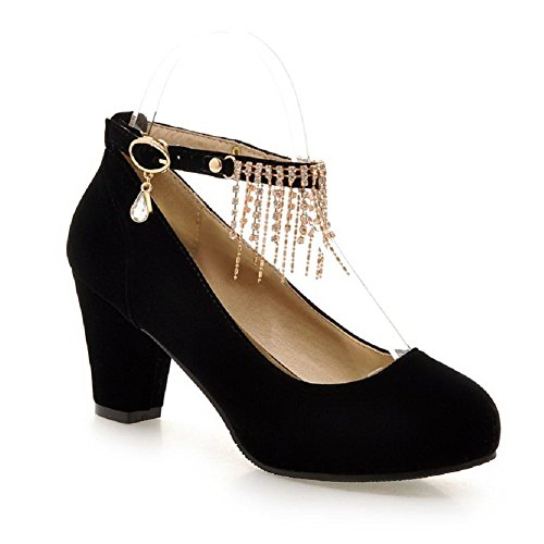 AllhqFashion Womens Round Closed Toe Buckle Imitated?Suede Solid High-Heels Pumps-Shoes Black kFHFw
