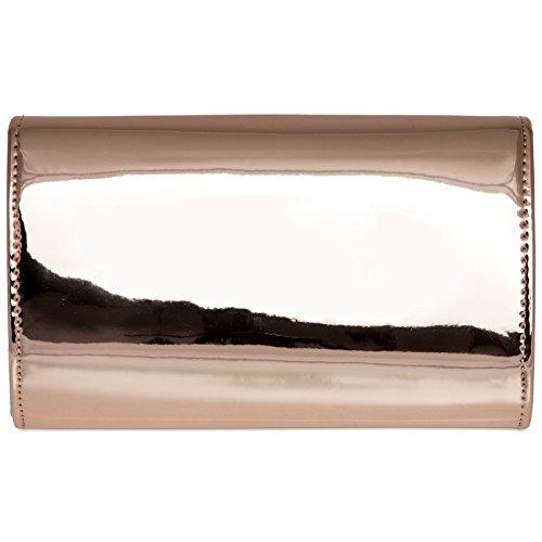 enveloppe or rosé soirée chaînette femme métallisé main pour laqué avec longue CASPAR à TA377 élégant clutch Pochette de Sac Tgn4qAHX