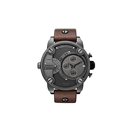 Diesel Brown Leather - Diesel Men's DZ7258 Little Daddy Gunmetal Brown Leather Watch