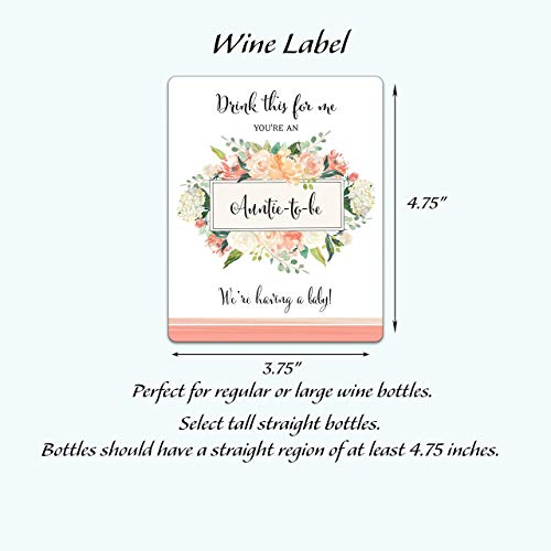 Drink This For Me - You're An Auntie-To-Be ● SET of 5 ● Pregnancy Announcement Wine Labels, Pregnancy Reveal Wine, Baby Surprise, Alternative to Pregnancy Announcement Cards WATERPROOF, Peach A612-5A1 (Peach Label)