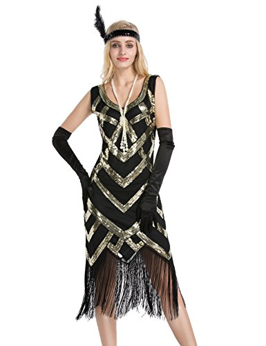 Emust Women's 1920s Beaded Sequin Crisscross Fringe Gatsby Flapper Dress Gold Size X-Small (The Great Gatsby Dresses For Sale)