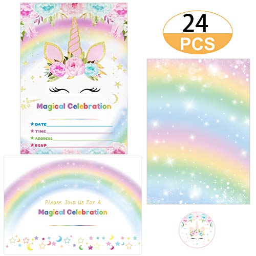 Supreona 24 PCS Glitter Unicorn Invitations With Envelopes And Stickers Rainbow Invitation Cards For Birthday, Baby Shower, Party Supplies Set (Best Birthday Party Invitations)