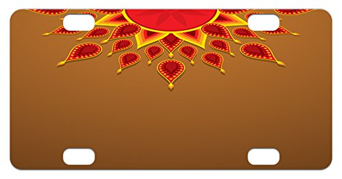 Celebration Caramels (Diwali Mini License Plate by Ambesonne, Oriental Paisley Design with Sun Beams Like Details for Festive Celebration Theme Print, High Gloss Aluminum Novelty Plate, 2.94 L x 5.88 W Inches, Caramel)