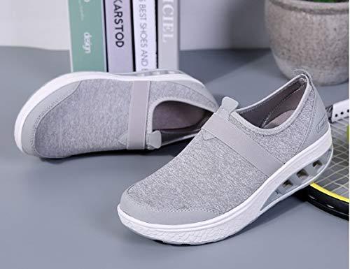 Zapatillas Ysfu Libre De El Ligero Para Al Que Mujer Amortiguan Aire Cómodos Peso Encaje Deporte Transpirables Casuales Planos Zapatos dnnOxwAU