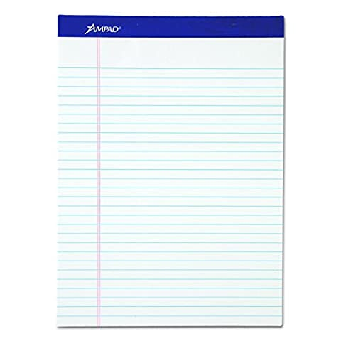 Ampad 20-170 Evidence Recycled Perforated 8-1/2x11-3/4 Wide Rule Pads, Margin, White, 50 Shts, 12 Per - Recycled Paper Pads