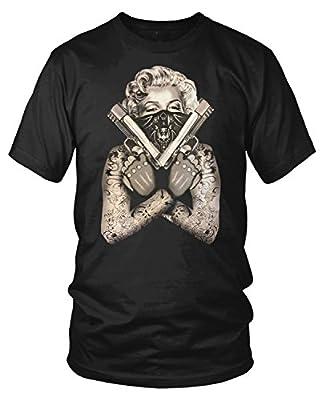 Amdesco Men's Marilyn Monroe Gangster Guns Tattoos T-Shirt