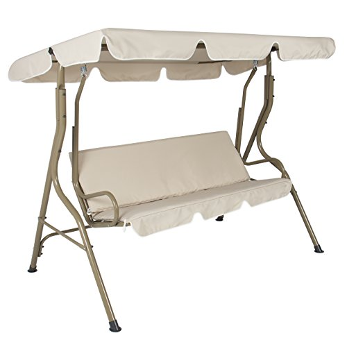 Best Choice Products 2-Person Outdoor Large Convertible Canopy Swing Glider Lounge Chair w/Removable Cushions - Beige