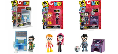 "Teen Titans Go 2.75"" Figures Bundle Set: Starfire with Speedy, Red X with Accessory, and Robin with Accessory"