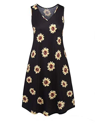 Ivicoer Women's V Neck Sleeveless Casual Printed Tank Plus Size Dress with Pockets 4XL-Daisy