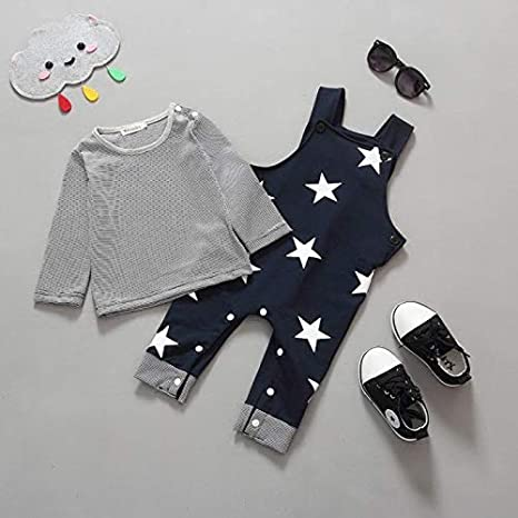 Mignon Motif d/étoile Pantalon de Bavoir Tenues Ensemble pour 0-24 Mois LABIUO 2Pcs Ensemble B/éb/é Gar/çons Filles Manches Longues en Coton Ray/é T-Shirt Tops