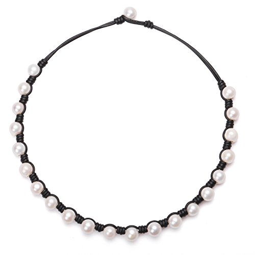 PearlyPearls Freshwater Pearl Choker Necklace on Black Leather Cord Jewelry for Women 16'' ()
