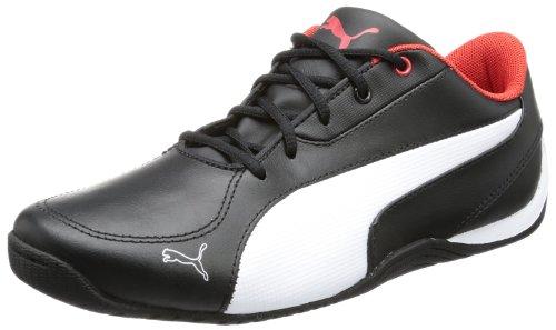 Puma Drift Cat 5 L Jr - Zapatillas de cuero infantil negro - Schwarz (black-white-high risk red 01)