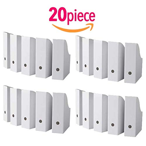 20 Pack Big Size Magazine, Document Organiser Holder in White for Office Home use. Size : 33x3x38 cm