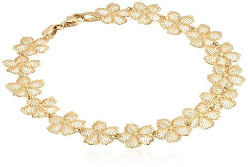 14k Gold Hibiscus Flower Bracelet