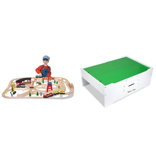 Melissa & Doug Multi-Activity Table & Railway Set Bundle