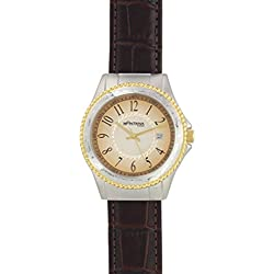 Montana Silversmiths Men's 'Time' Quartz Stainless Steel and Leather Dress Watch, Color:Brown (Model: WCH3020)