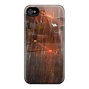 For Iphone 4/4s Tpu Phone Case Cover(airplane Rainfall)