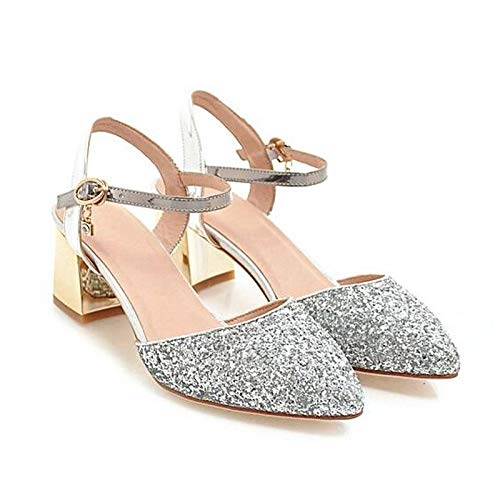 Oro Primavera Mujer Negro Black Lienzo Confort Zapatos Talón De Plata Tacones Chunky QOIQNLSN 1Xpwzn