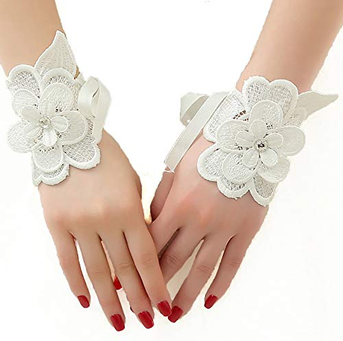 SCHOLMART Bridal Lace Rhinestone Fingerless Gloves for Wedding Party Prom White, Black, Fishnet, Bridemate Handband (Style C)