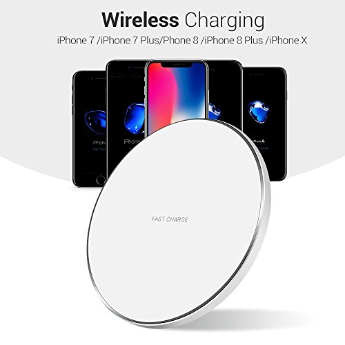 Wireless Charger, Aonlink 7.5W Wireless Charger for iPhone X/8/8 Plus,10W Fast Wireless Charging for Samsung Galaxy S9/S9 Plus/Note 8/S8/S8 Plus, 5W for All Qi-)1 (White) by Aonlink (Image #1)