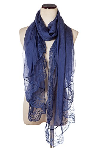 Women Lace Scarf Lightweight Shawl,Saferin Soft Contracted Style Both Ends Floral Lace Soft Scarf Spring Shawl (Lace Dark Blue) (Floral Soft Scarf)