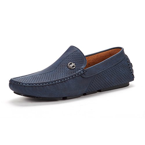 BRUNO MARC NEW YORK Men's 3251314 Navy Penny Loafers Moccasins Shoes Size 10 M US - Moccasin Mens Shoes