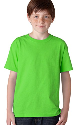 Gildan Big Boys' Heavyweight Taped Neck Comfort T-Shirt, Neon Green, Medium - Gildan Youth Short