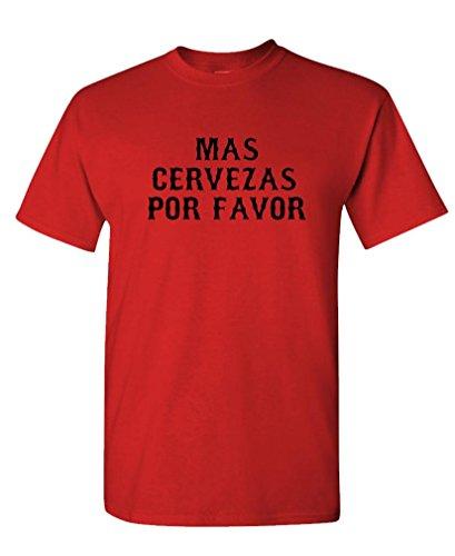 - MAS CERVEZAS POR Favor - Cinco de Mayo - Mens Cotton T-Shirt, L, Red