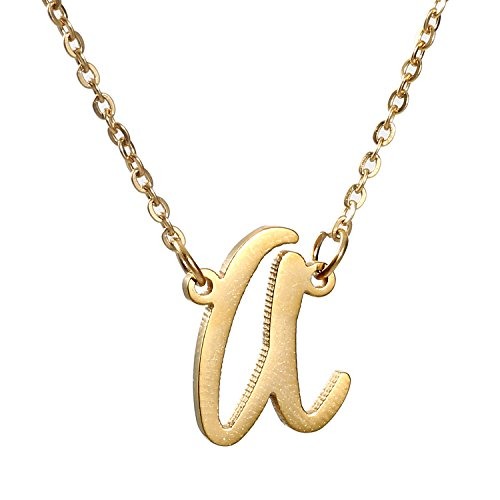 AOLO Golden Plated A Initial Necklace Alphabet Charm Stianless Steel