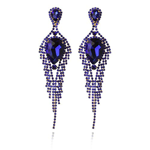 Clip On Tear Drop Glam Cascade Fashion Earrings in Gold Royal Blue