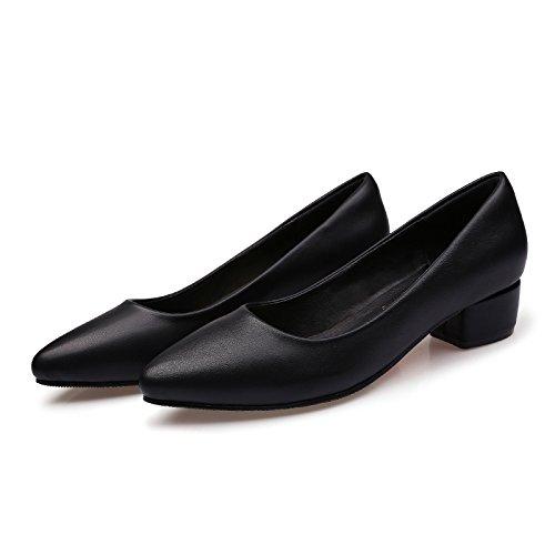 GAOLIM Los Zapatos De La Entrevista Profesional Negro Grueso Zapatos Zapatos De Trabajo Hotel Etiquette Alto Talón De Aire Zapatos Zapatos Zapatos De Trabajo Por Parte De Los Bancos. Negro