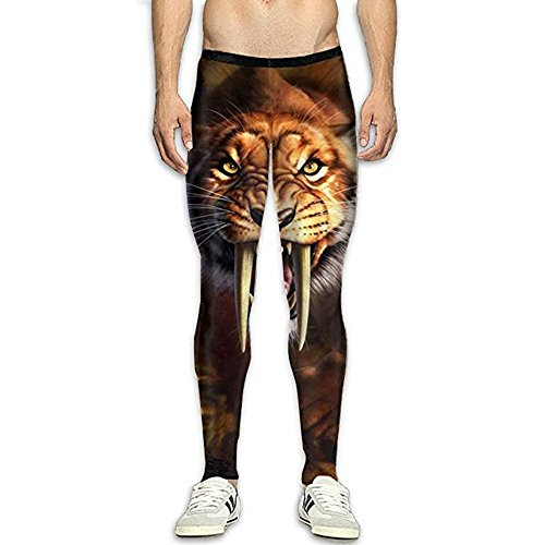 Men's Compression Leggings Basic Workout Wolf Pants Baselayer Running Tights 3D Print High Waist Sports Legging