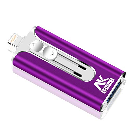 iOS Flash Drive for iPhone Photo Stick 256GB keainikj Memory Stick USB 3.0 Flash Drive Thumb Drive for iPhone iPad Android and Computers (purple-256gb) (Best Flash Drive For Iphone Photos)
