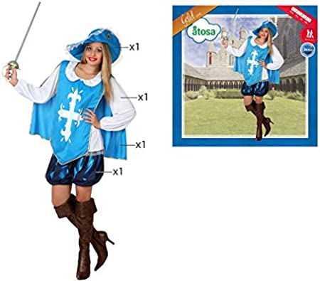Atosa 22866 Disfraz Mosquetera XL Mujer Azul halloween, color ...
