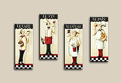 Amazon.com: Decor Well - 4 Pieces French Chef Canvas Wall Art Print ...