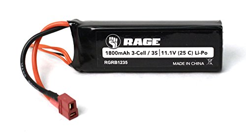 Rage RC Automobile B1235 11.1V 3S 1800mAh Lipo Battery with T-Plug: Black Marlin Brushless